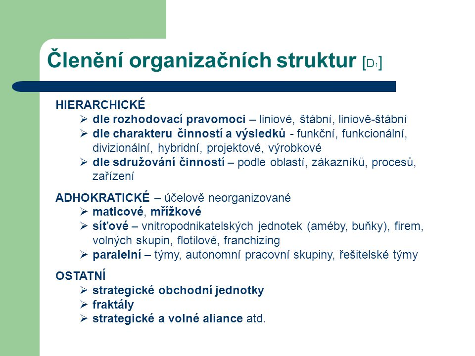 Členění organizačních struktur [D1]